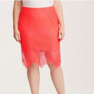 Torrid | Florescent Coral Lace Overlay Skirt